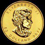 $50 Cdn Maple Leaf Coin - front