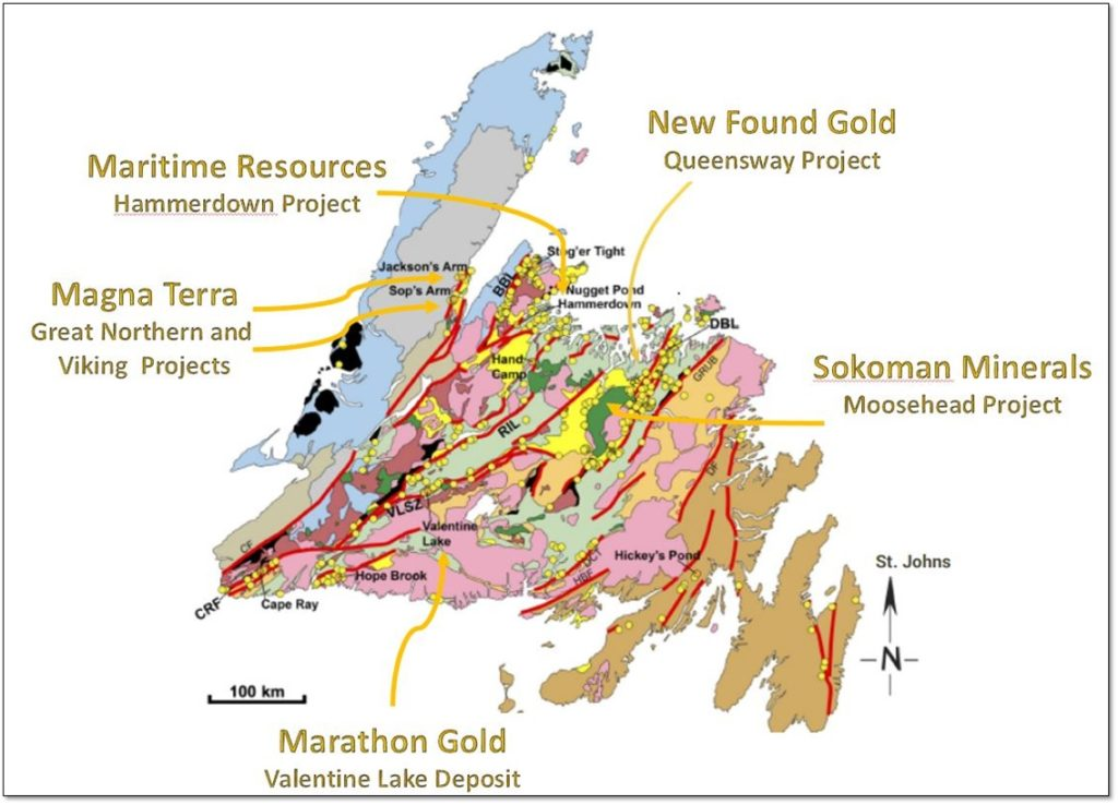 Gold Deposits and Showings in Newfoundland (Gold Dots)